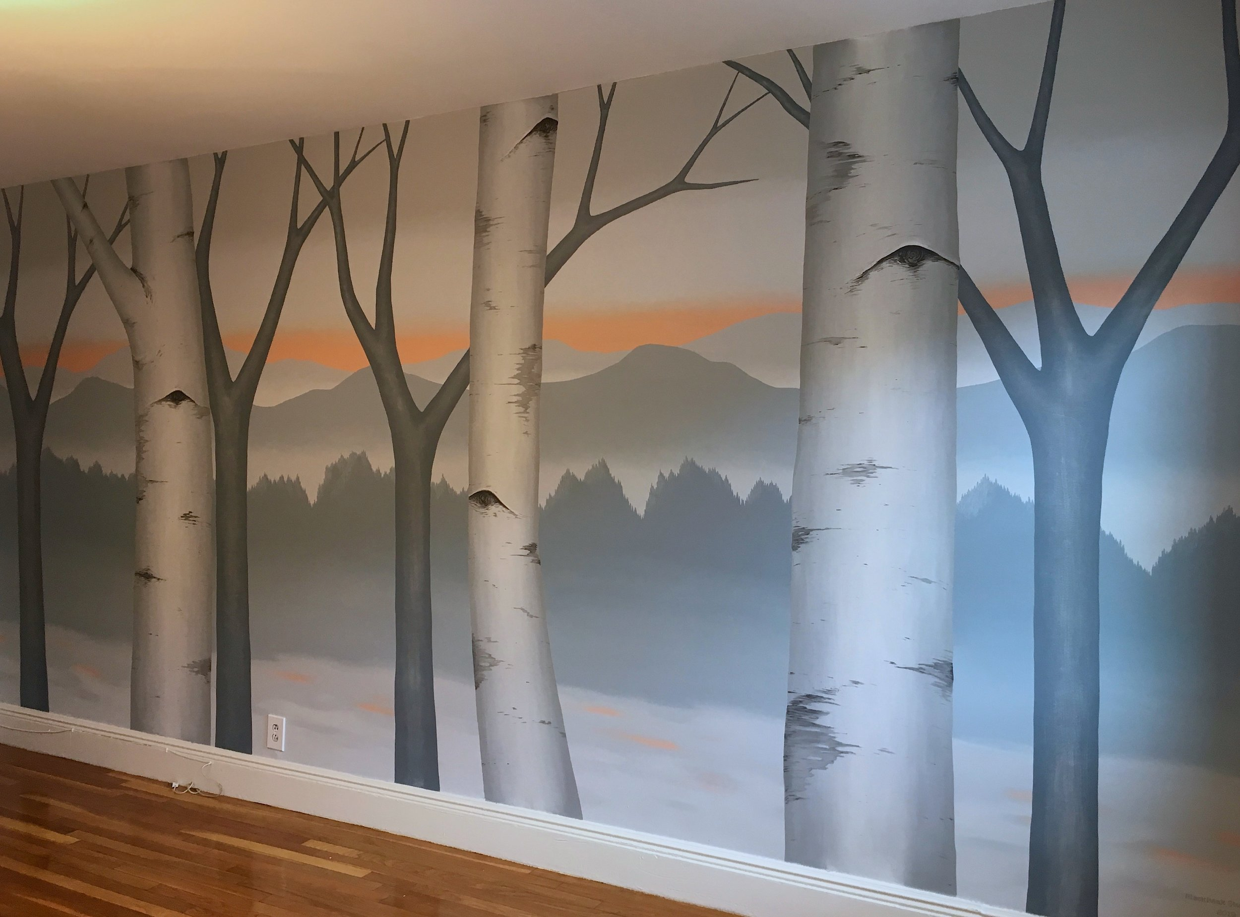 Master bedroom mural in Brookline, MA