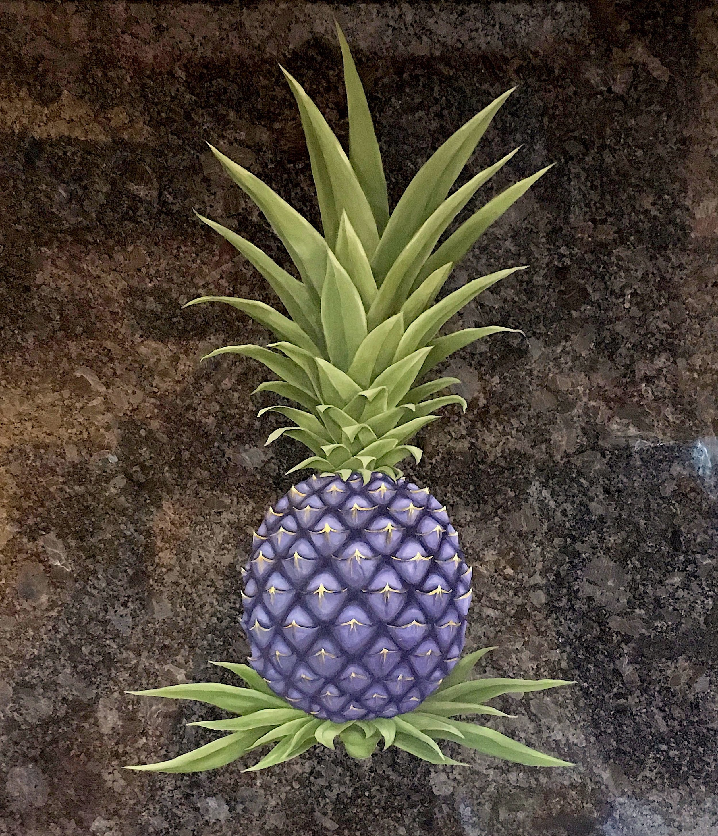 Pineapple mural on granite in Southboro, MA