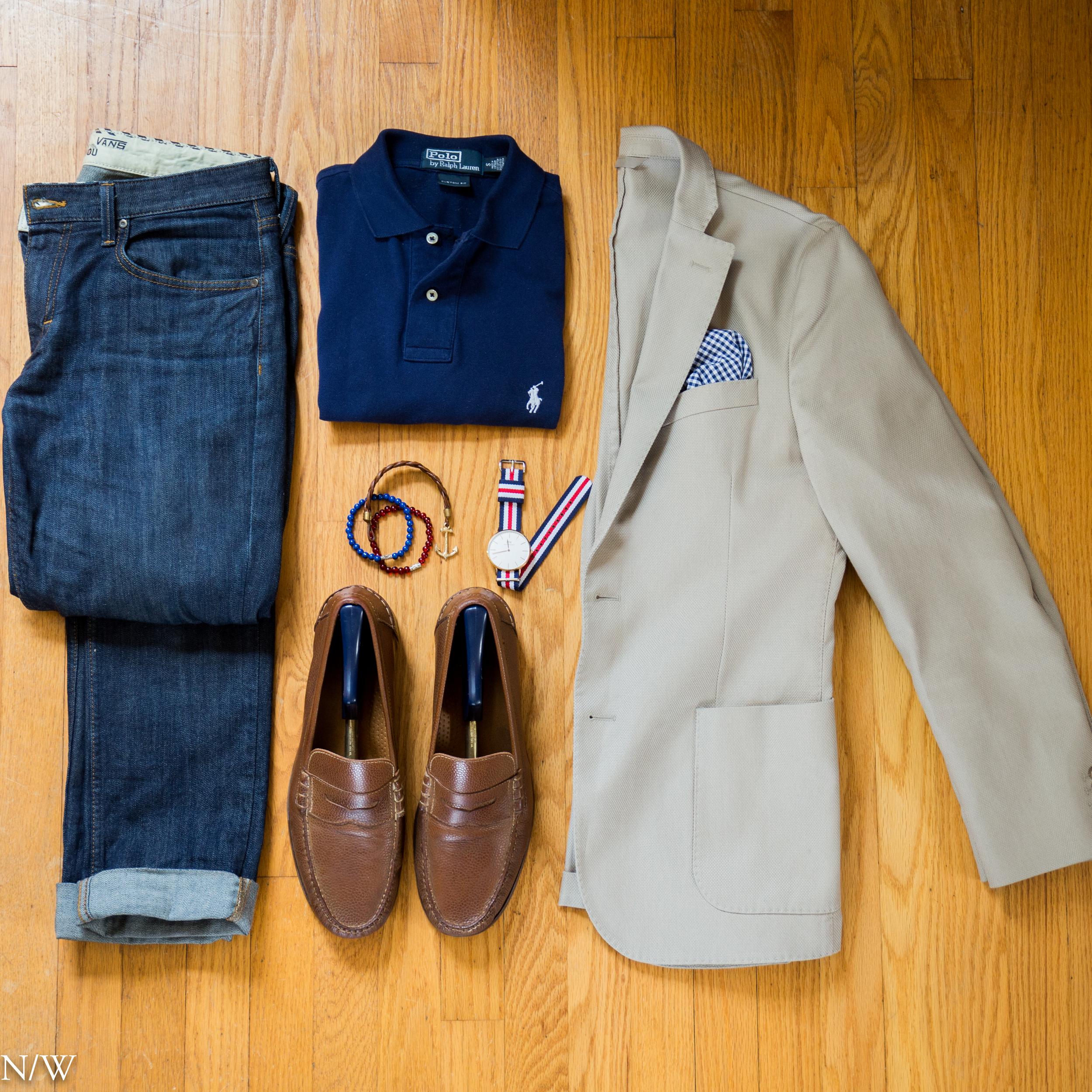 Shirt: Ralph Lauren, Blazer: J. Jindeberg, Pocket Square: J Crew, Sunglasses: Ray-Ban, Watch: Daniel Wellington , Shoes: Cole Haan, Bracelets: Kjp, Our Saints.