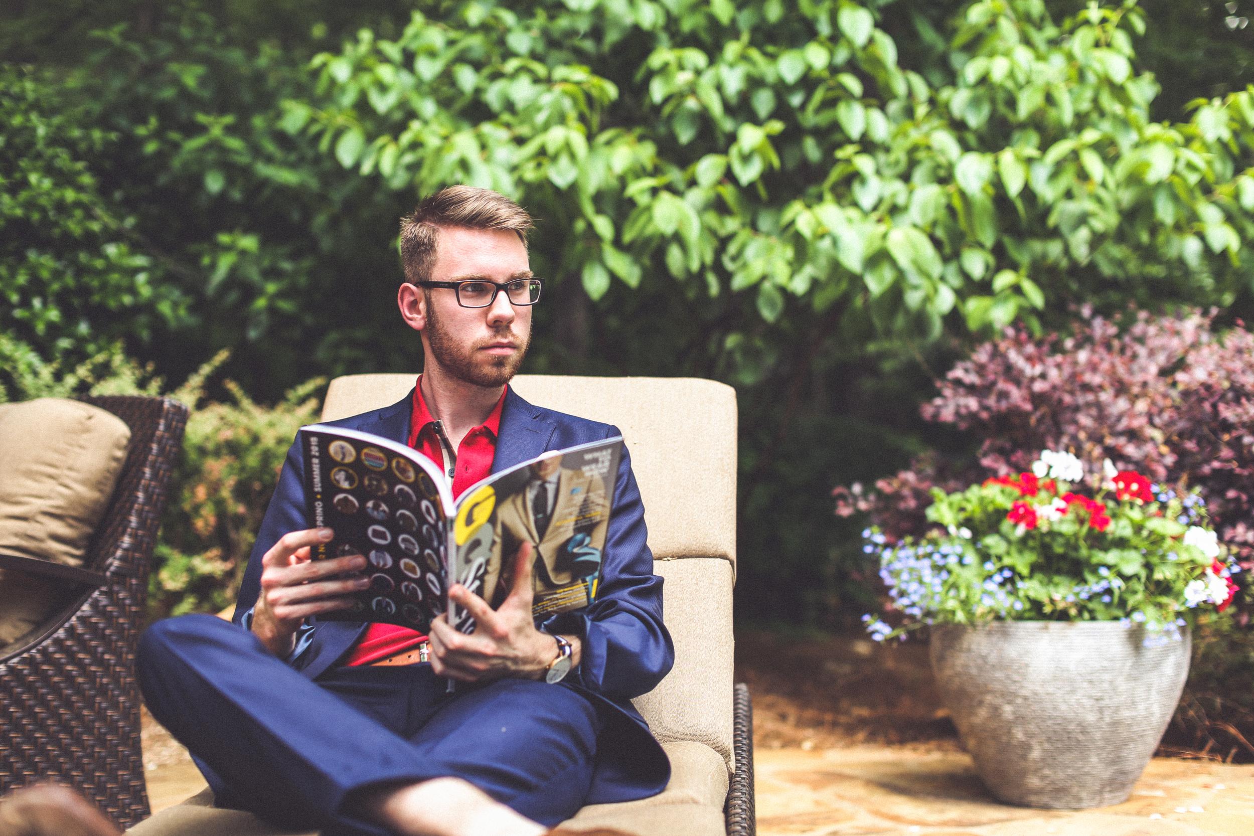 Suit: J. Lindenburg, Shirt: Burberry Brit, Shoes: Cole Haan, Pocket square: thetiebar.com, glasses: Burberry