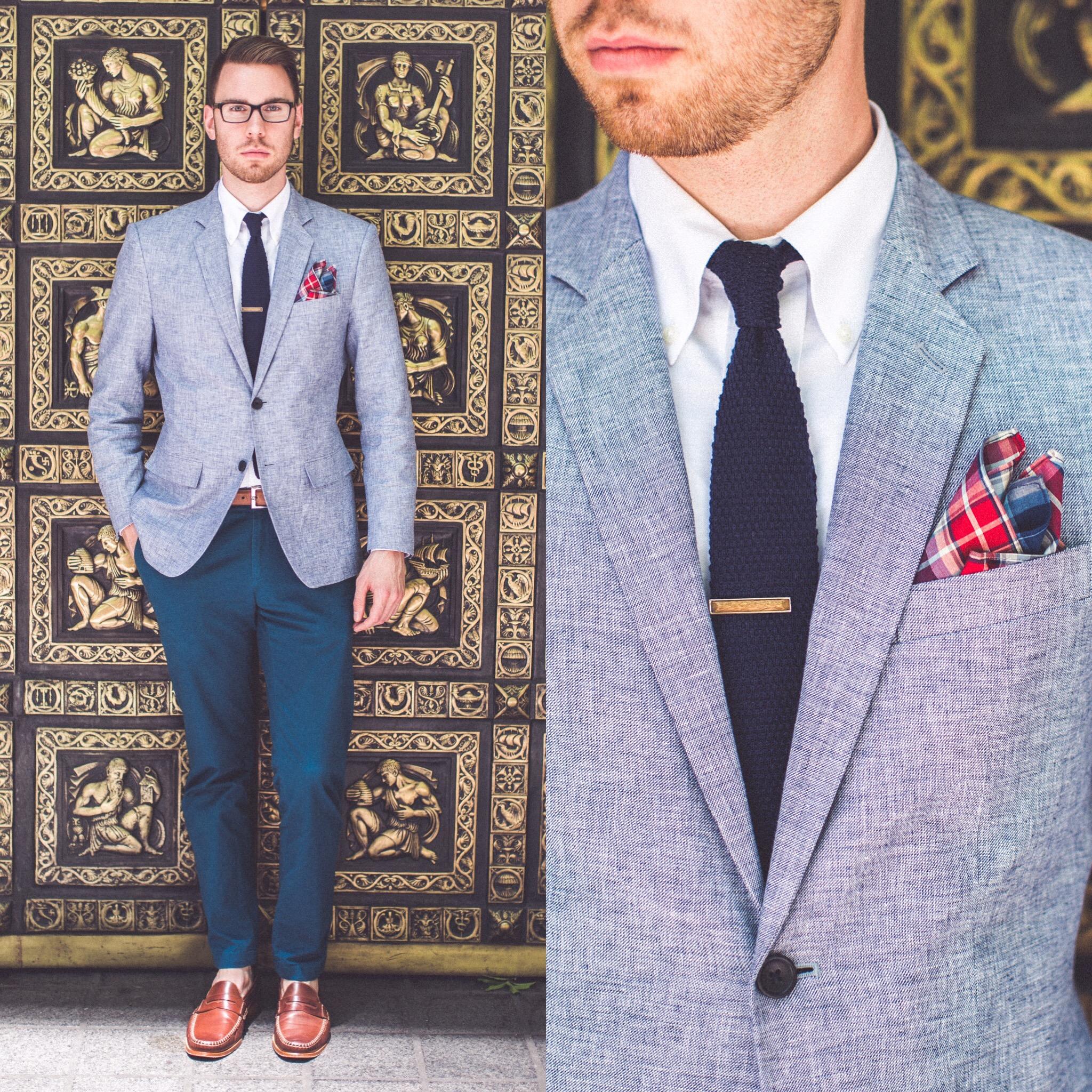 Pants: Brooks Brothers Red Fleece, Shirt: Brooks Brothers, Blazer:Banana Republic, Tie: Jcrew, Shoes: Johnston & Murphy, Pocket Square: bows-n-ties.com. Glasses: Burberry, Belt: Ralph Lauren