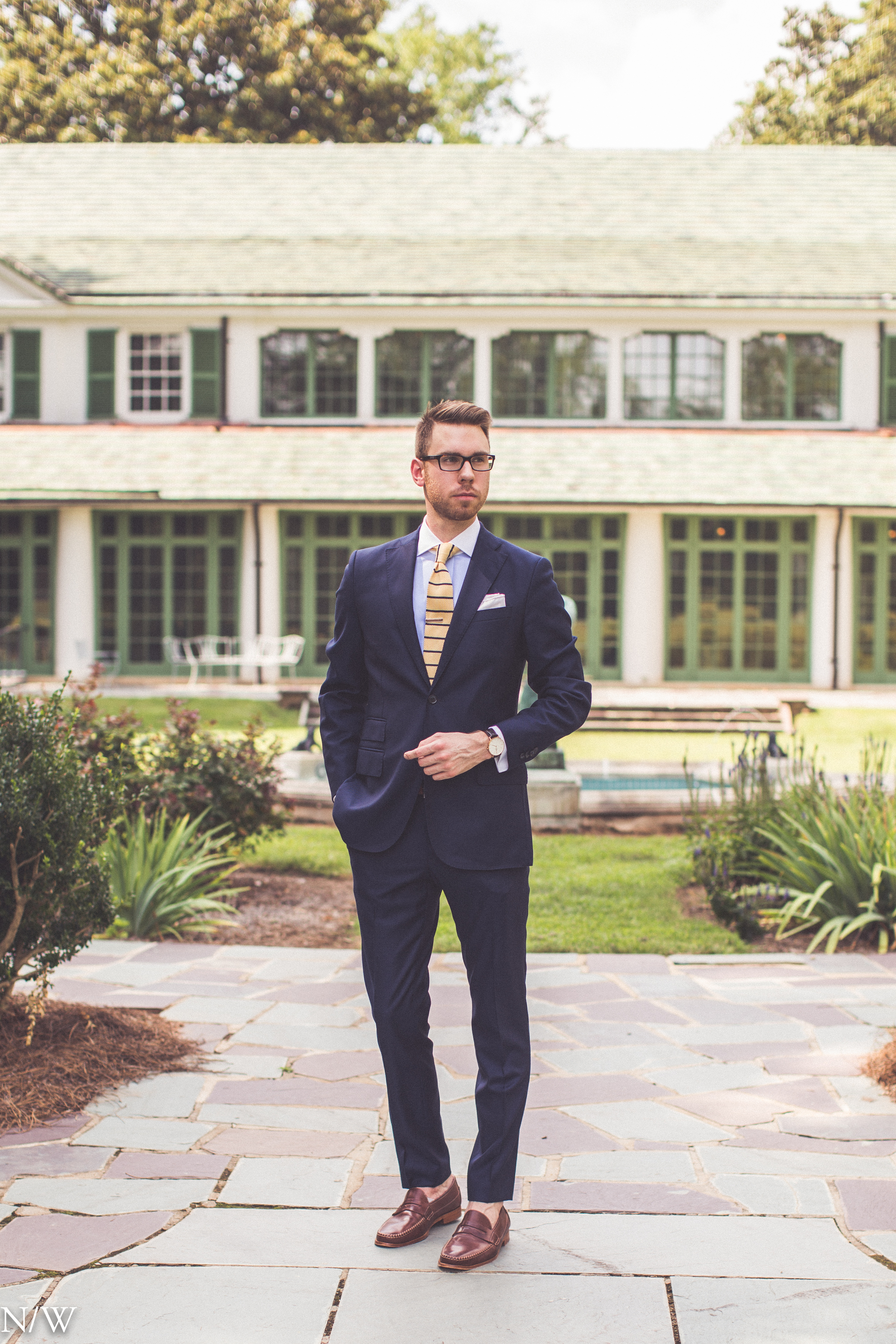 Shirt: Ledbury, Suit: J. Lindeburg, Shoes: Johnston & Murphy, Glasses: Burberry, Watch: Daniel Wellington