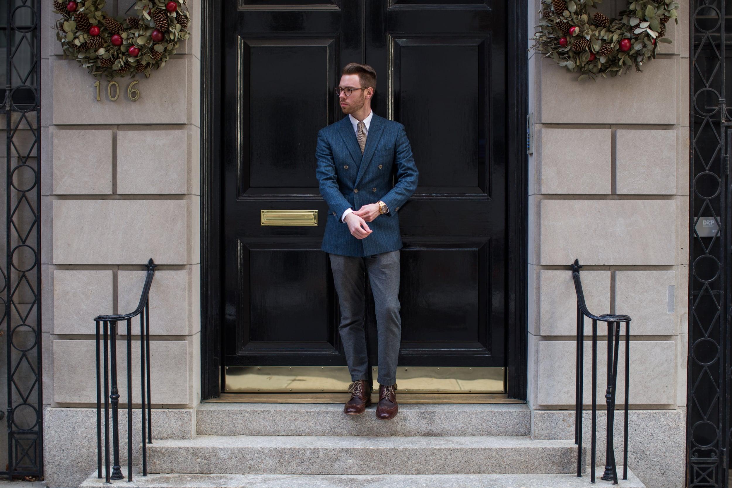 Blazer: Indochino, Pants: Brooks Brothers Red Fleece, Shirt: Brooks Brothers, Tie: Eddie Bauer(vintage), Boots: Johnston & Murphy, Glasses: Ralph Lauren, Watch: Victoninox