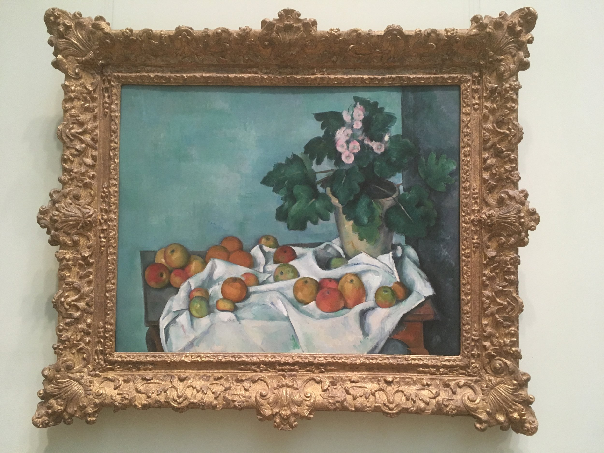 """Paul Cezanne, 'Still Life With Apples and a Pot of Roses"""" ca. 1890"""