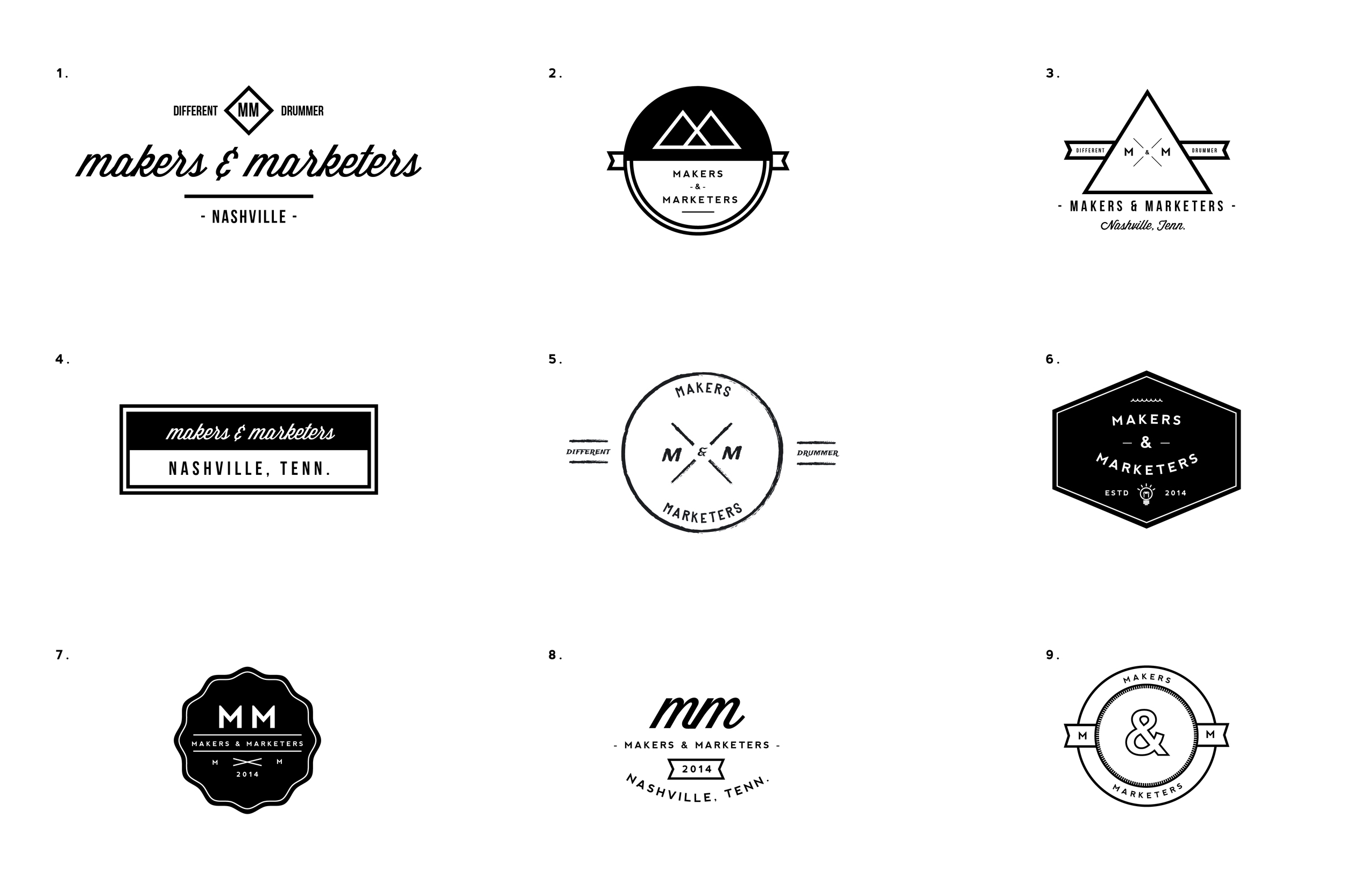 A variety of preliminary mockups.