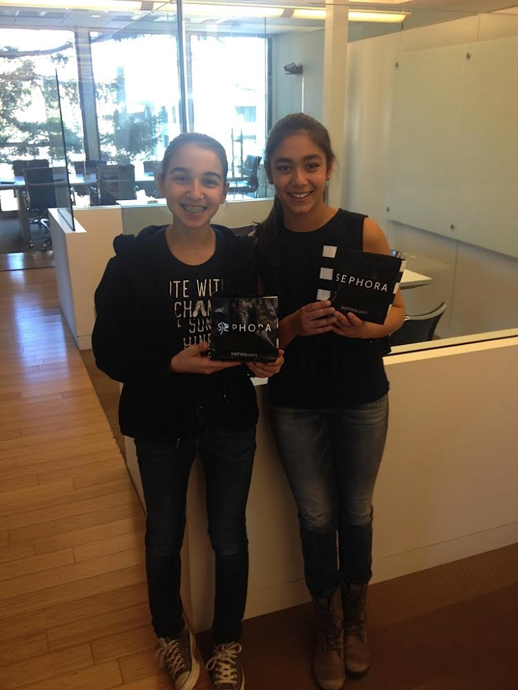 Ana and Ayla with the first donation from Sephora in 2014.