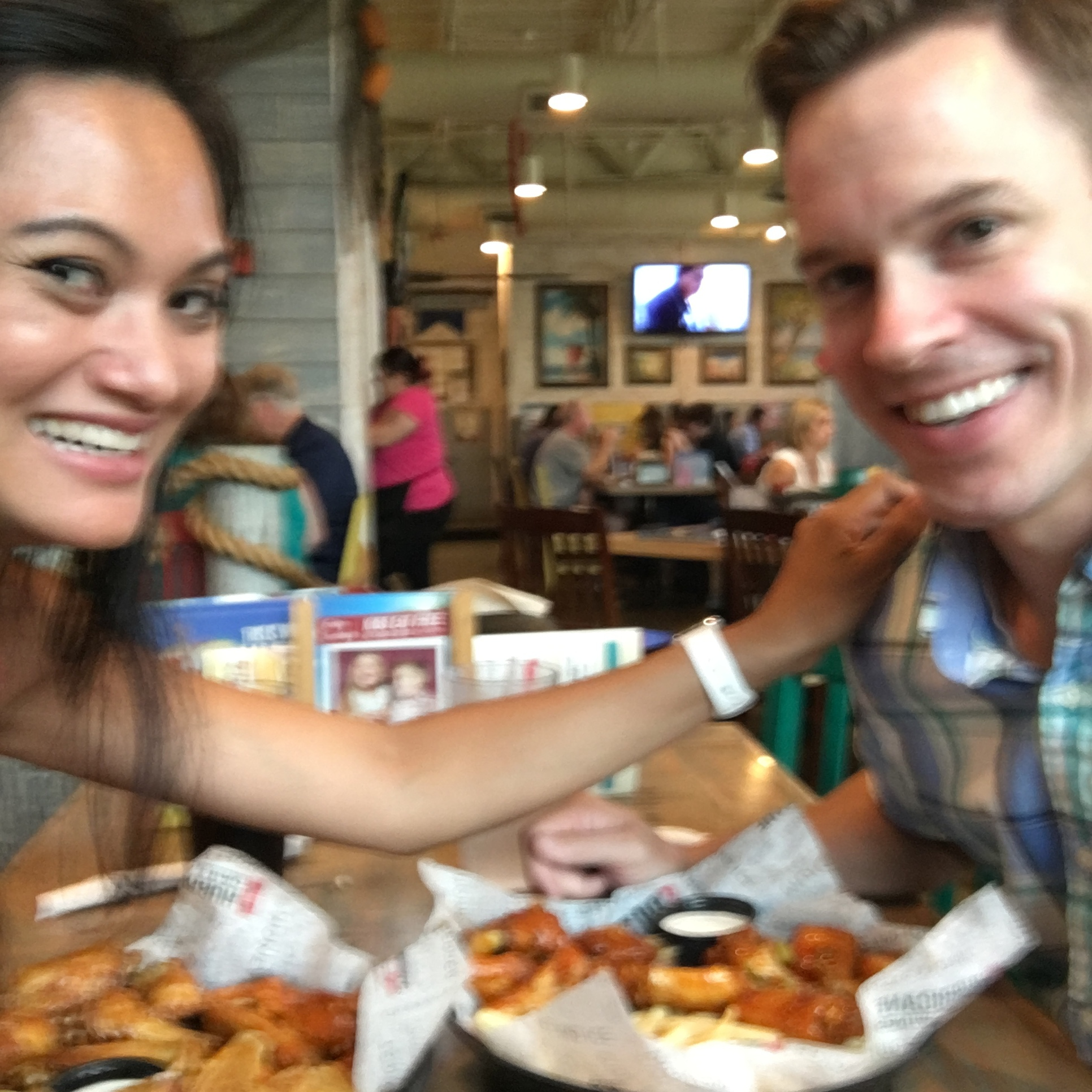 Literally the only picture of just the two of us taken in the last year. SAY WHAT? Also... WINGS!