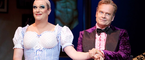 Douglas Hodge and Kelsey Grammer in  La Cage Aux Folles .