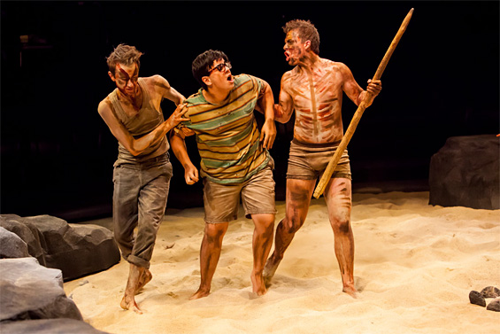 Jack DiFalco (far right) as Roger in The Denver Center for the Performing Arts production of Lord of the Flies.