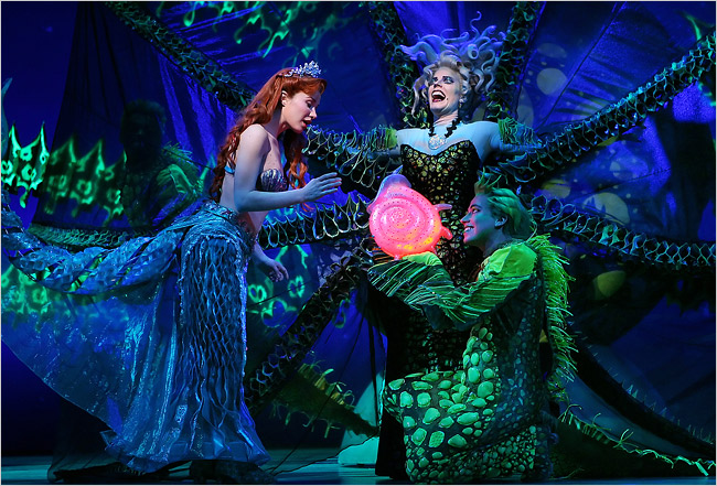 Sierra Boggess, Sherie Rene Scott and Tyler Maynard in  The Little Mermaid .