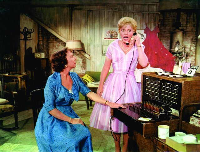 Jean Stapleton and Judy Holliday in the film version of  Bells Are Ringing.
