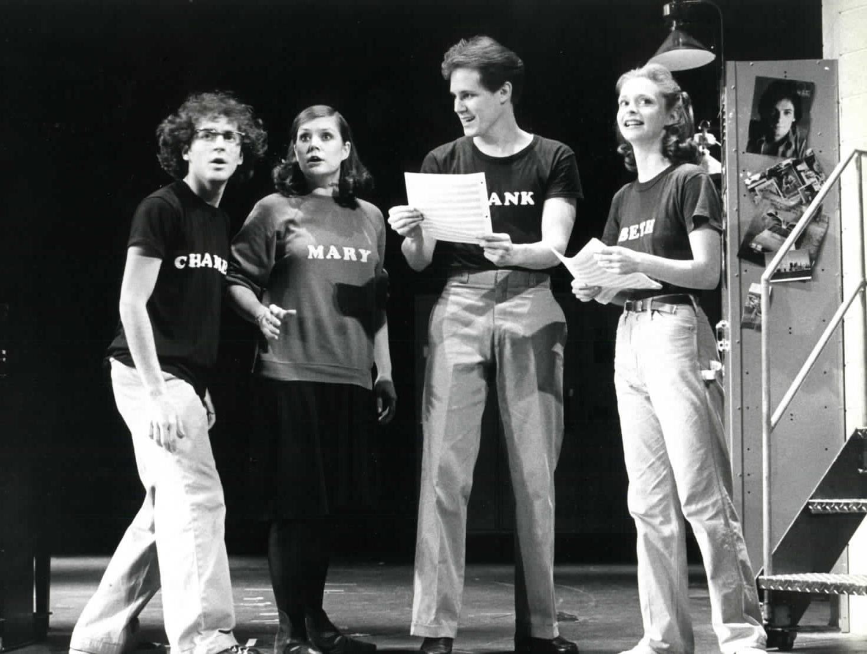 Lonny Price, Ann Morrison, Jim Walton, Sally Klein in the original Broadway production of  Merrily We Roll Along .