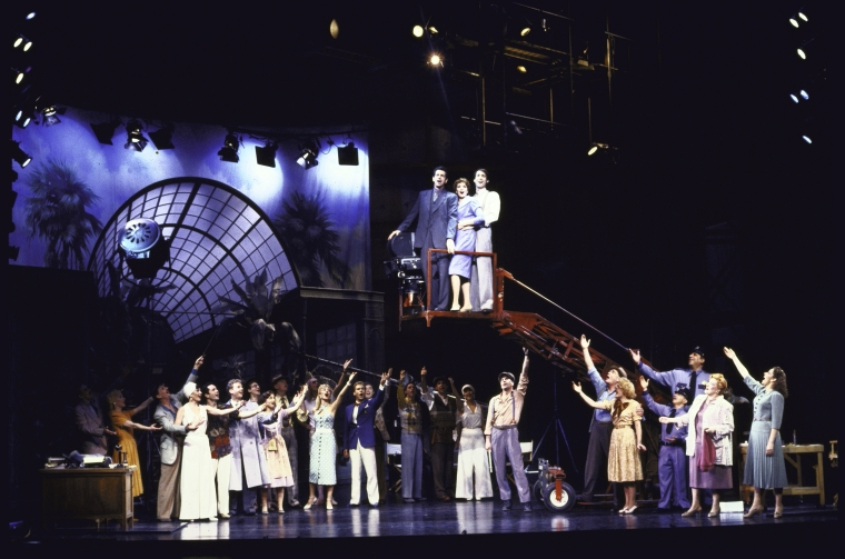 "James Naughton, Kay McClelland and Gregg Edelman with cast in a scene from the Broadway musical ""City of Angels"""