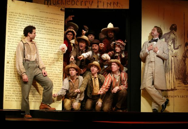 Tyrone Giordano (left) and Daniel Jenkins (right) and the cast of Deaf West's  Big River  on Broadway.