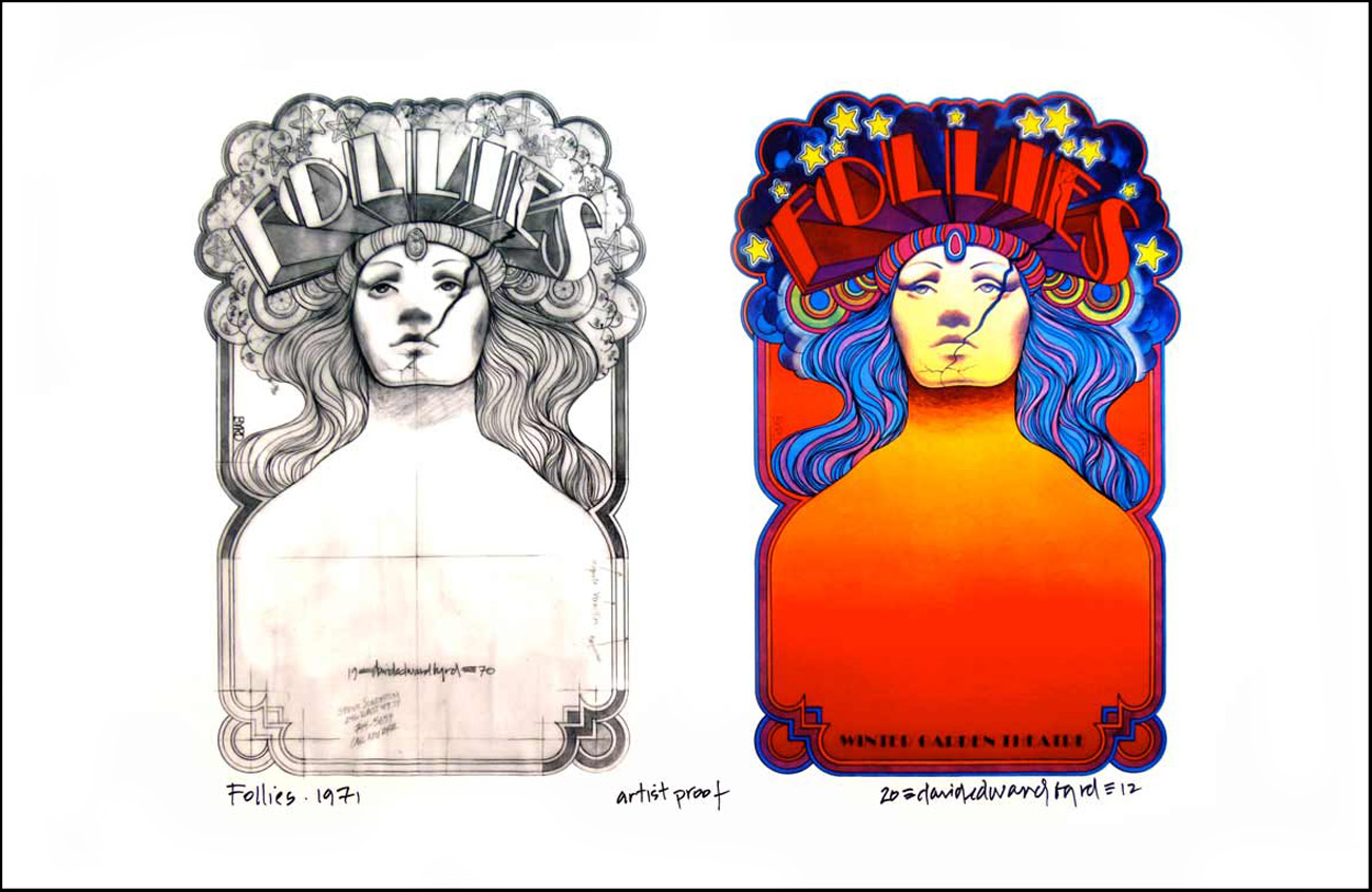 Follies 1971 Broadway poster concept sketch and final by David Byrd