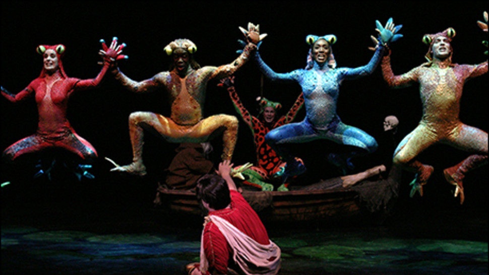 Nathan Lane and the ensemble of  The Frogs .