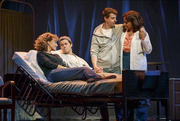 Betsy Wolfe, Andrew Rannells, Christian Borle and Tracie Thoms in  Falsettos .