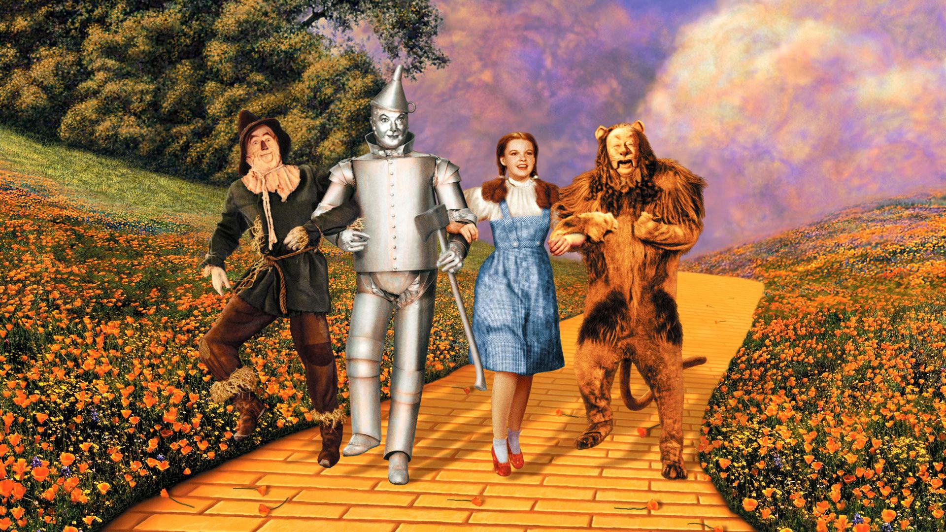 Ray Bolger,Jack Haley, Judy Garland and Burt Lahr.