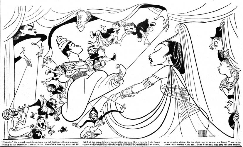 Al Hirschfeld's caricature of  Flahooley , from  The New York Times .