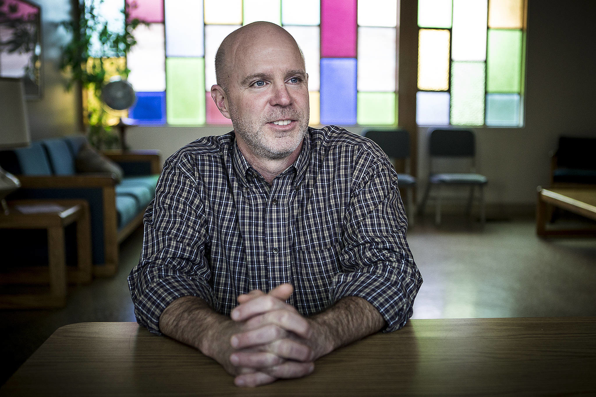 A native Seattleite, Hallack Greider, is Maplewood Presbyterian Church's new pastor in Edmonds. (Ian Terry / The Herald)