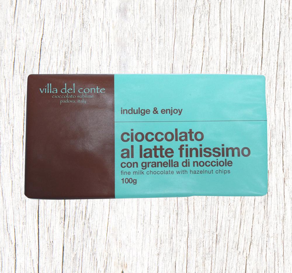 milk chocolate tavoletta with hazelnut chips
