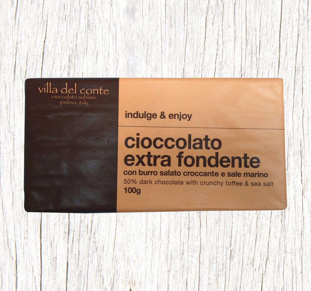 dark chocolate tavoletta with crunch toffee and sea salt