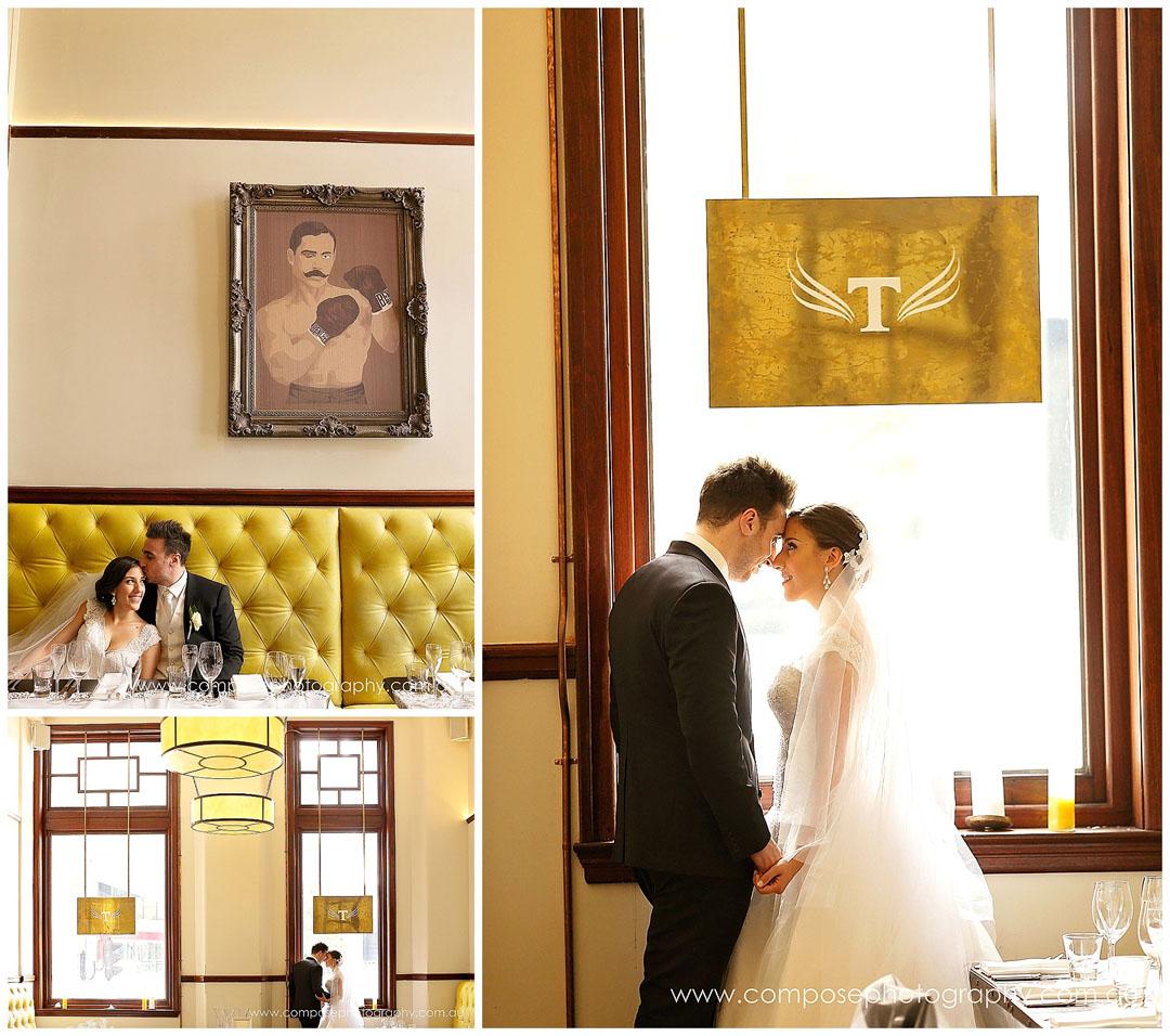 wedding photos in a bar