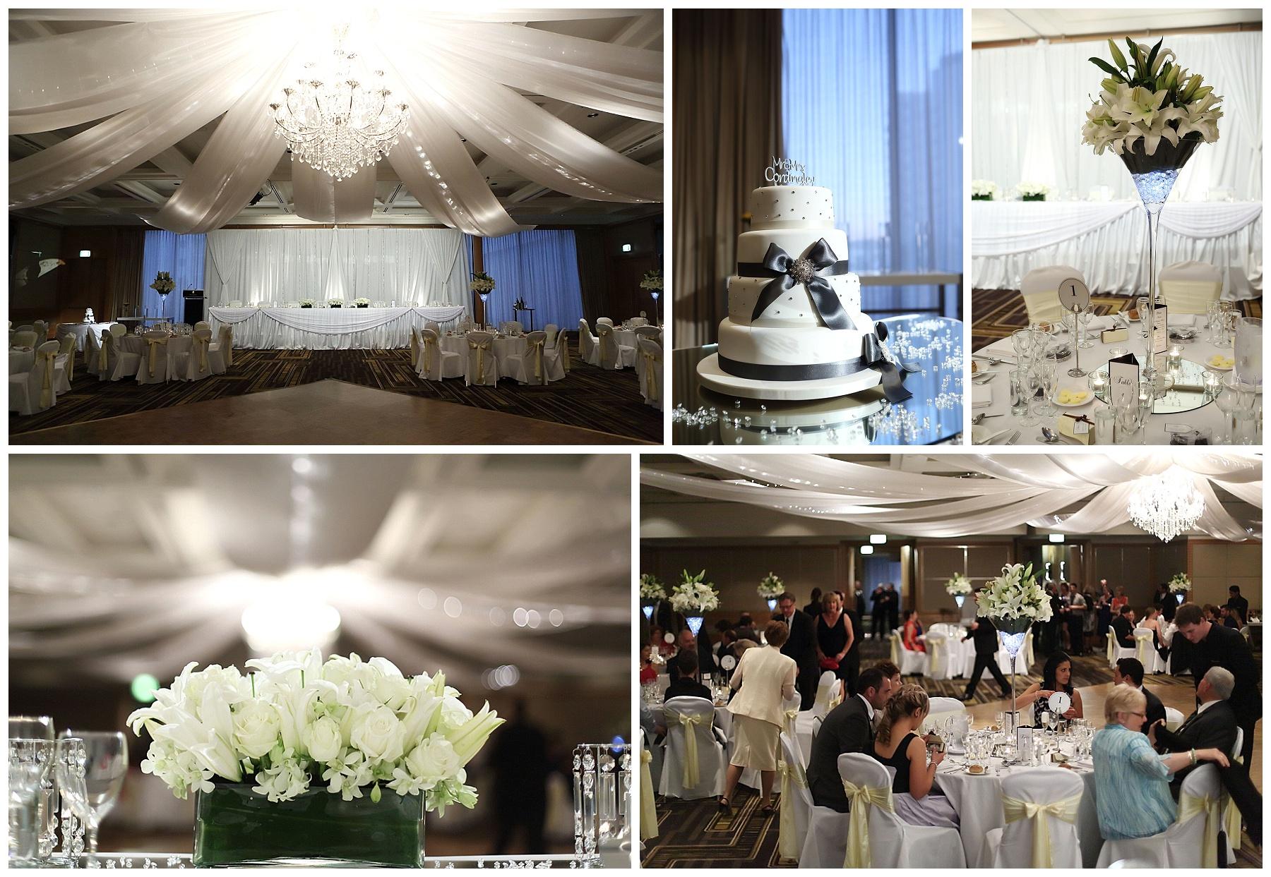 White flowers wedding reception styling