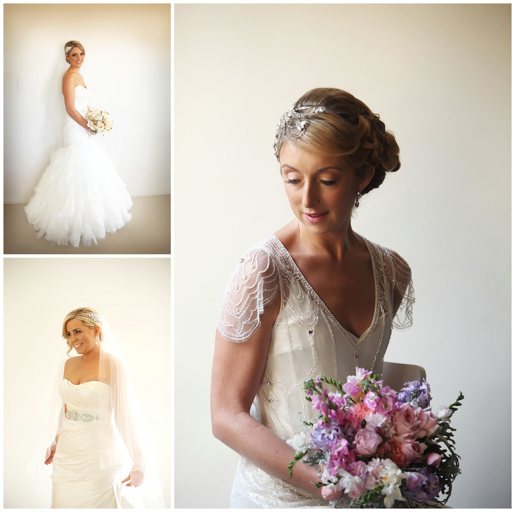 Bridal hair pieces, including wedding veils, birdcage veils, lace and crystal clips and floral crown.