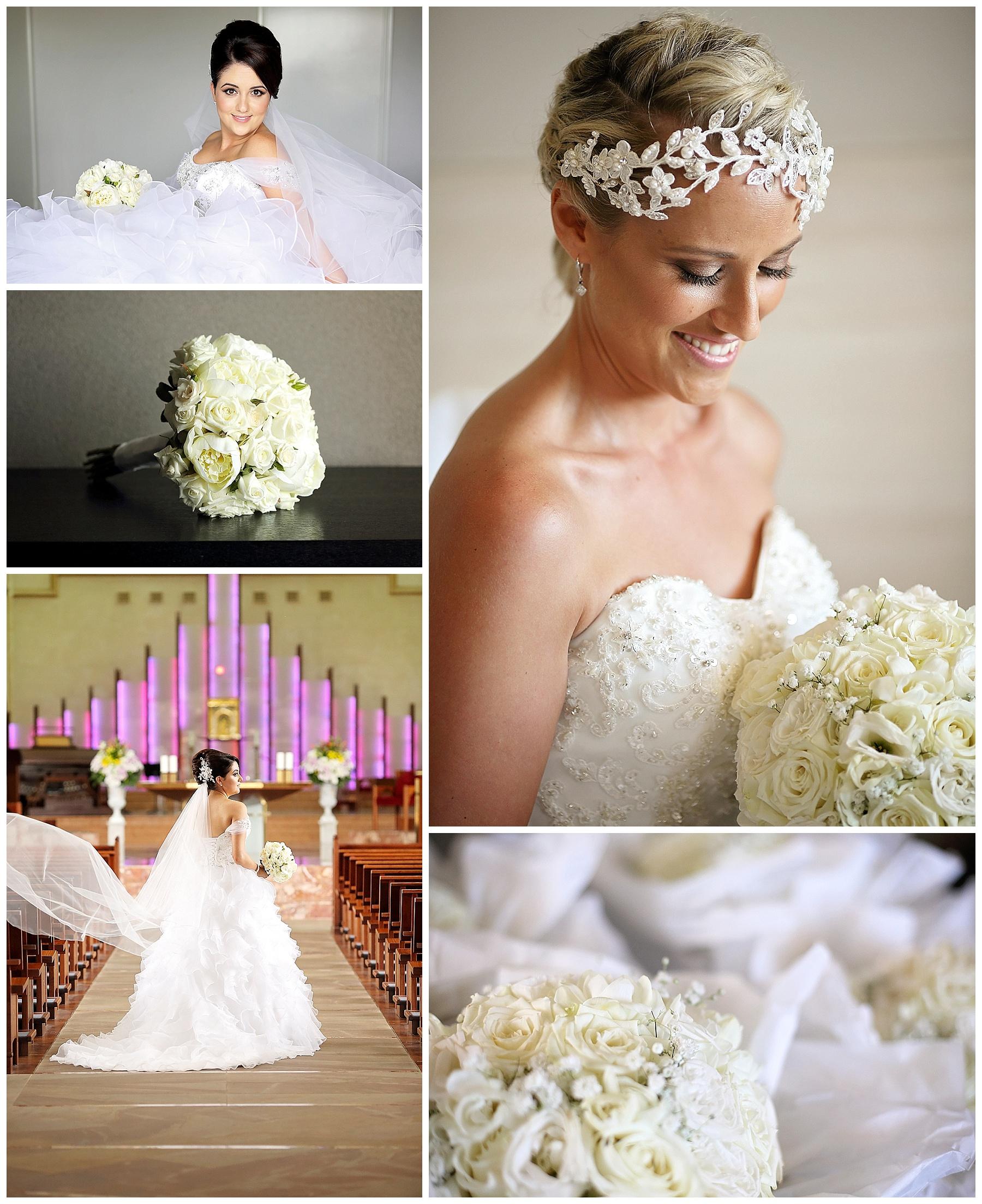 White roses wedding flowers
