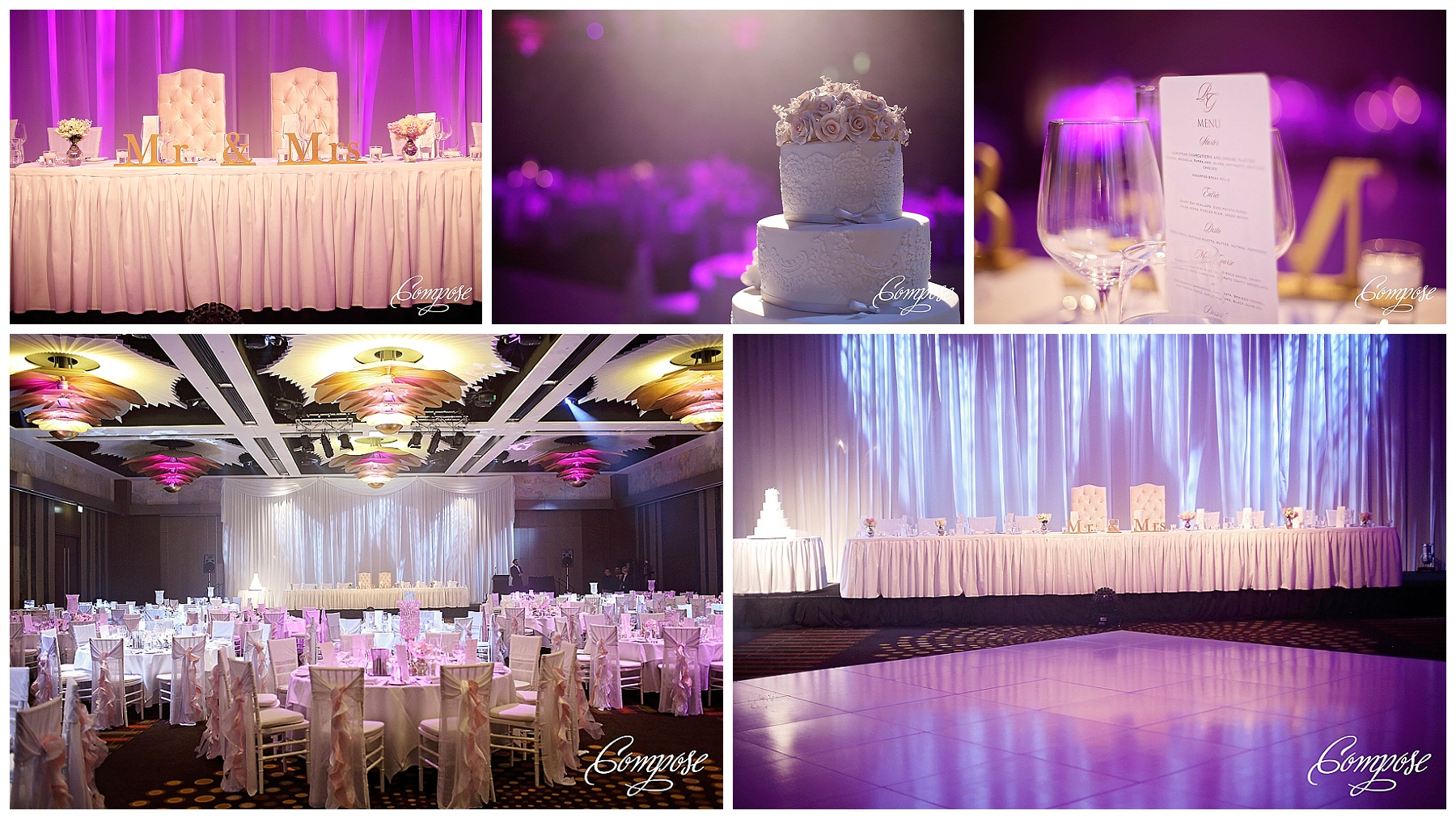 Wedding reception styling at Crown Perth