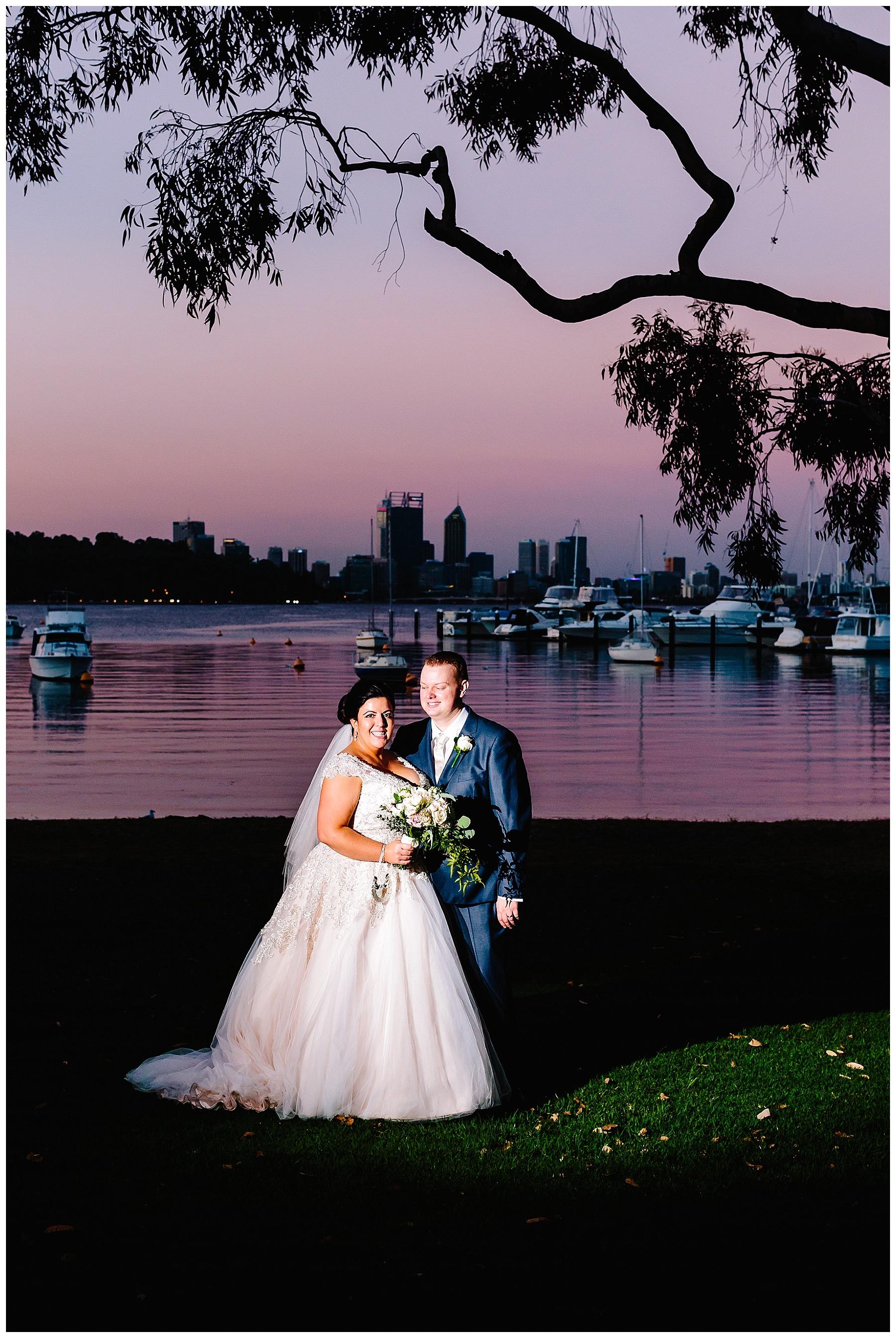 Sunset wedding at Matilda Bay