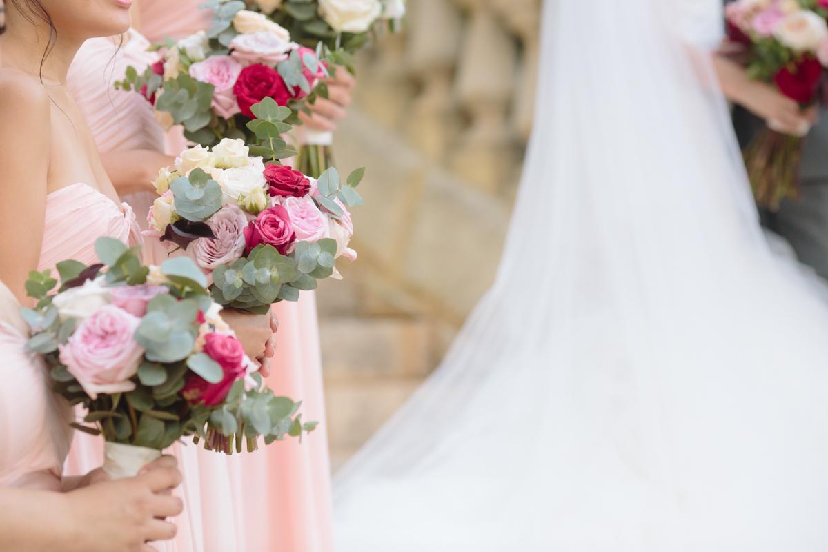 Pink bridemaid flowers