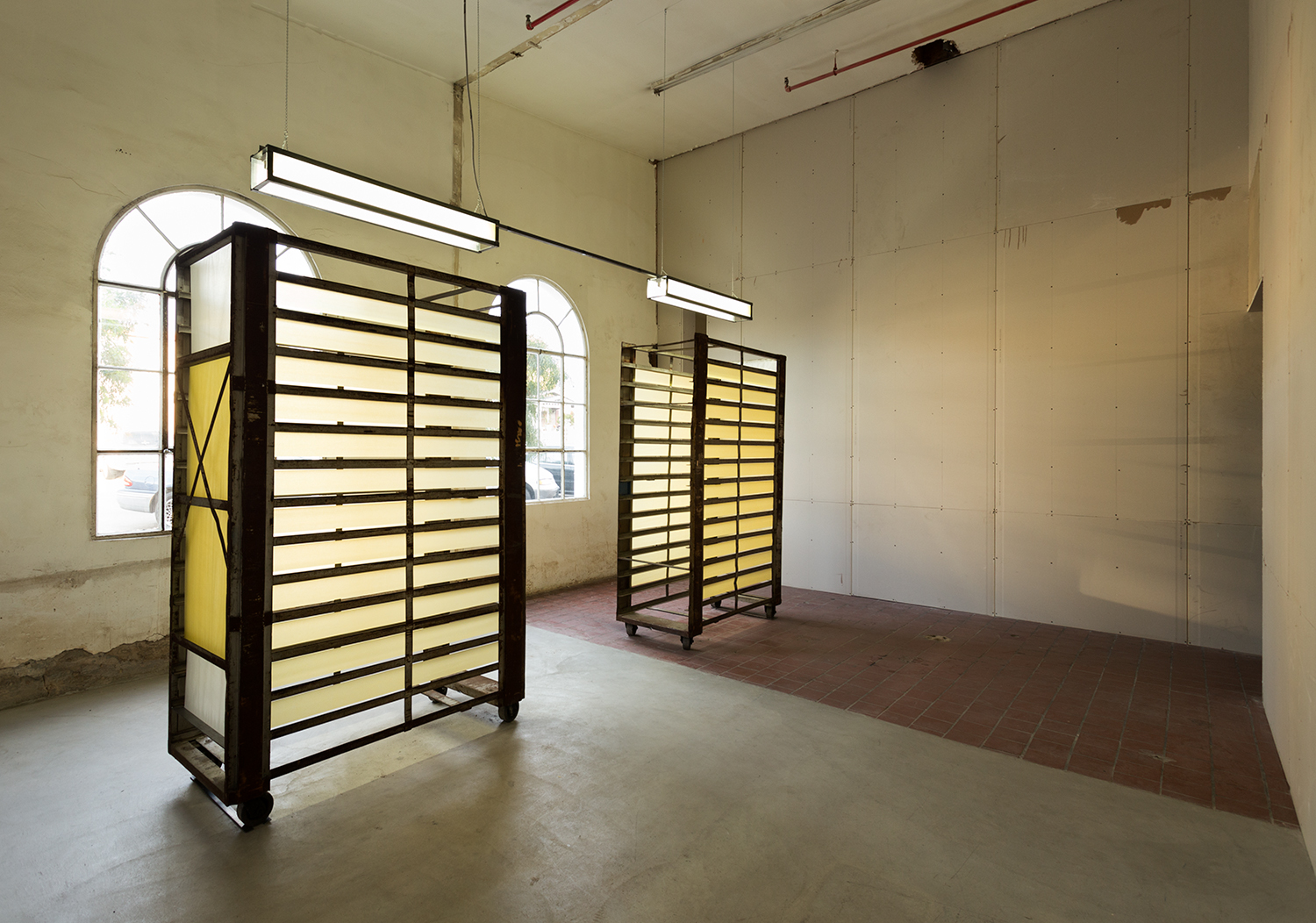 Old steel bread racks, tracing paper, glassine, custom light fixture  2013, ICE Gallery   Photos:  Philipp Scholz Rittermann