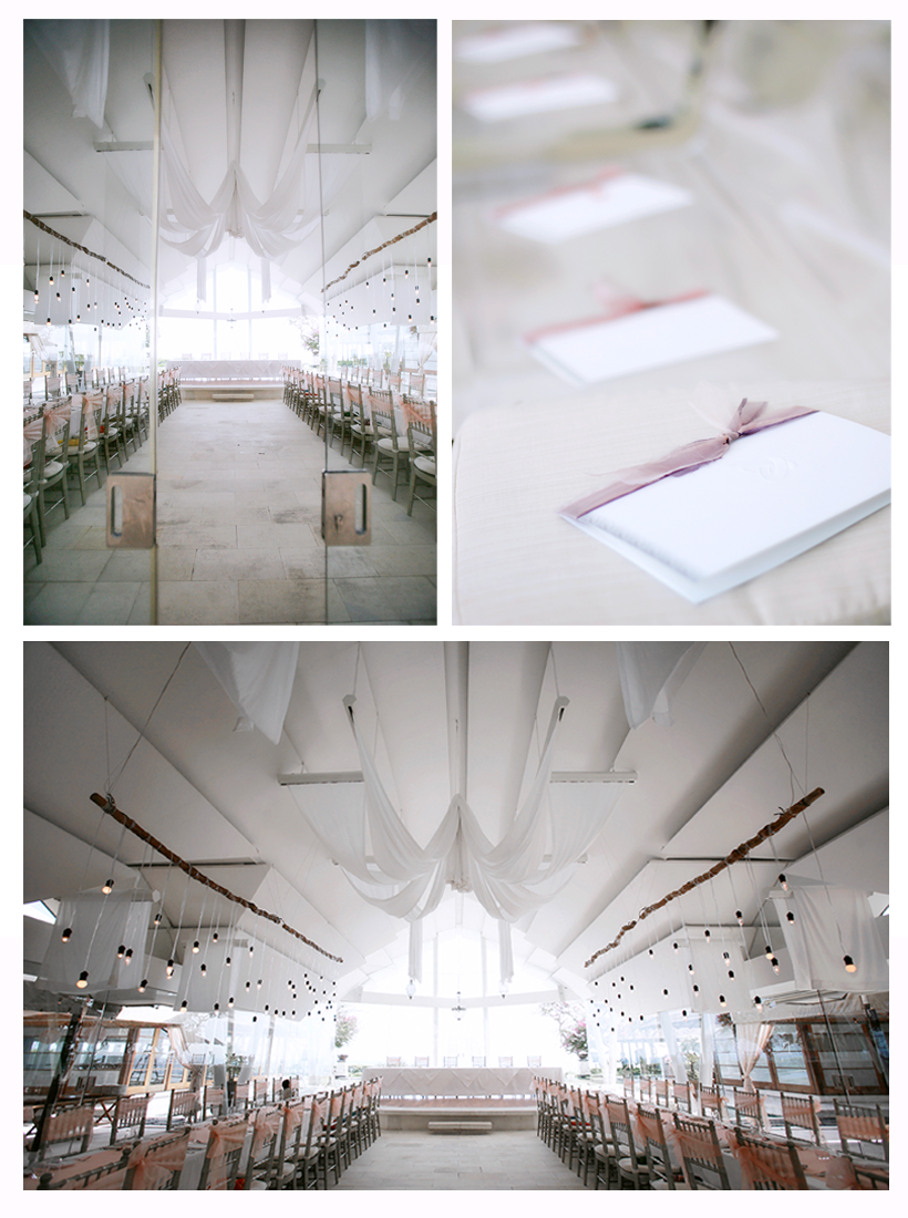 Faced with the choice of either hosting the dinner reception indoors or outdoors, the couple decided to go with the intimate settings inside the chapel. Lighted bulbs hanging down from the ceiling and a giant cloth to add depth and texture, the venue seemingly glows with warmth as the sun sets outside on the horizon.