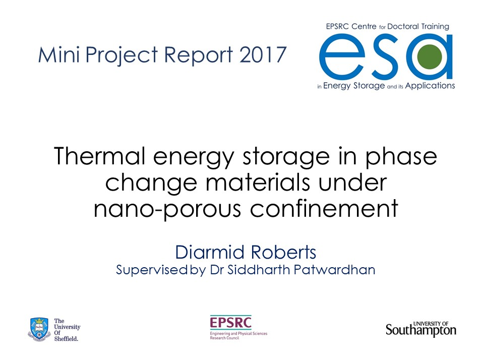 Thermal energy storage in phase change materials under nano-porous confinement.