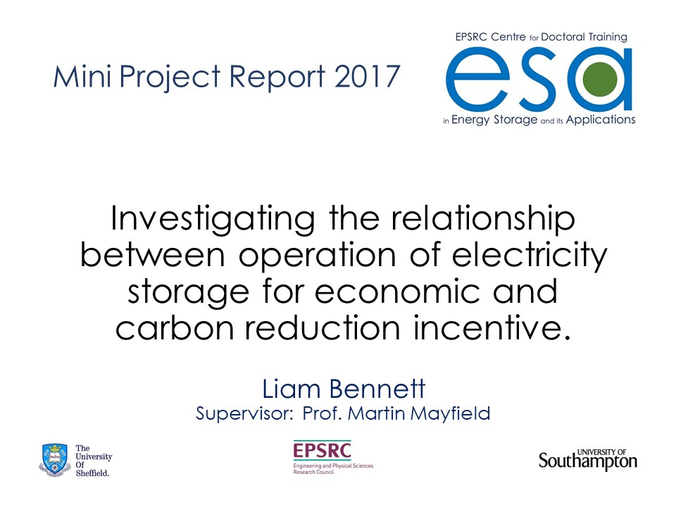 Investigating the relationship between operation of electricity storage for economic and carbon reduction incentives.