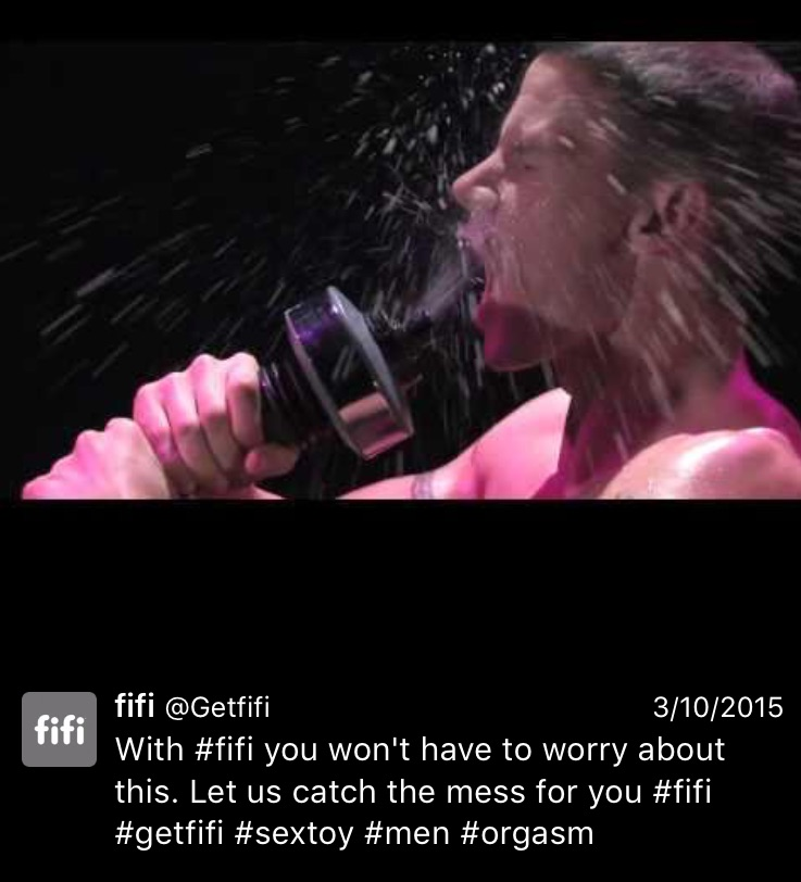 I have a question for the #men. Is this...does this happen often when you #orgasm? Do you often struggle with the sheer force of your ejaculate spraying you in the face? Is this a problem that #fifi is going to fix for you?