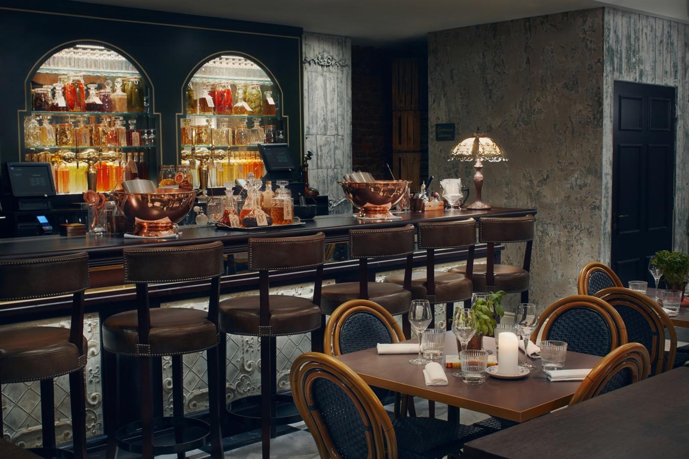 Six Storeys interior, seating at the bar