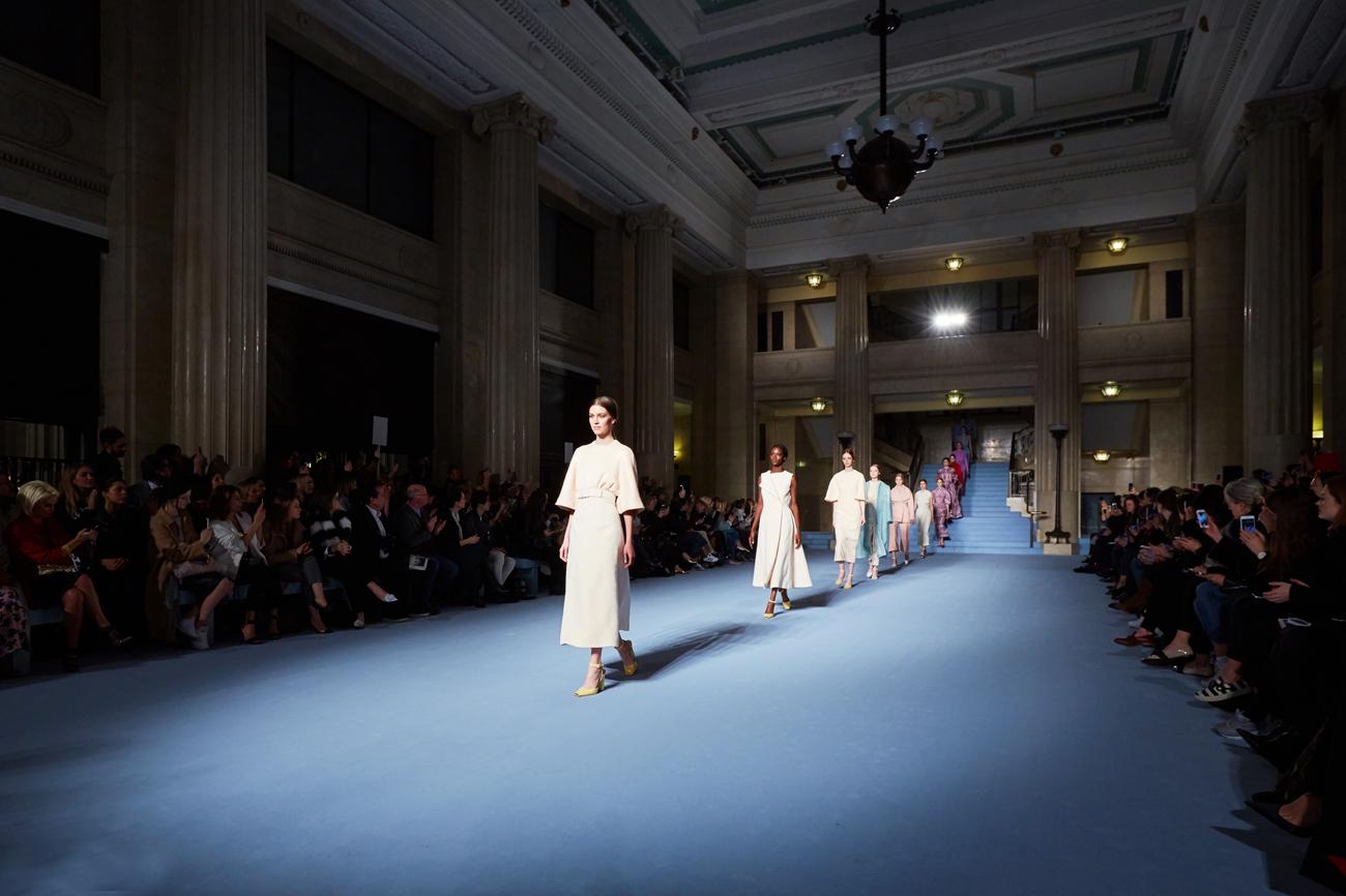 Banking Hall interior, models walking down a catwalk
