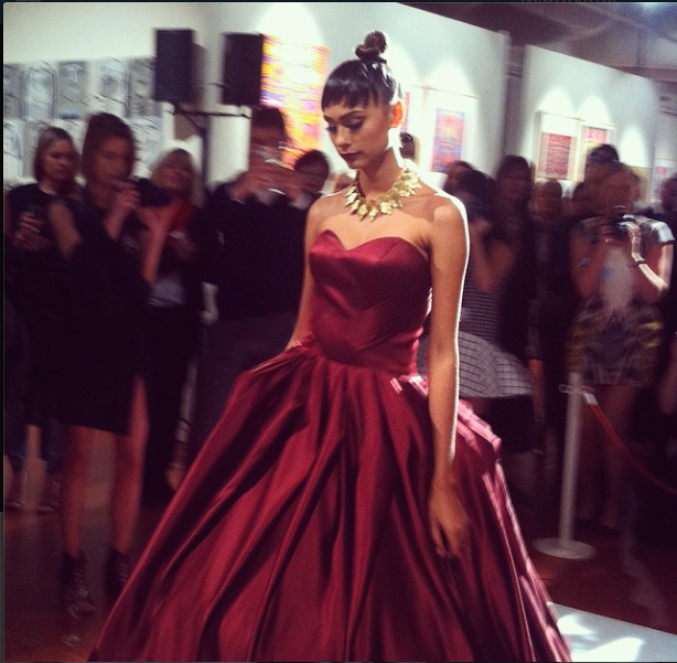 Keeler wearing an incredible Jaimie Sortino gown.