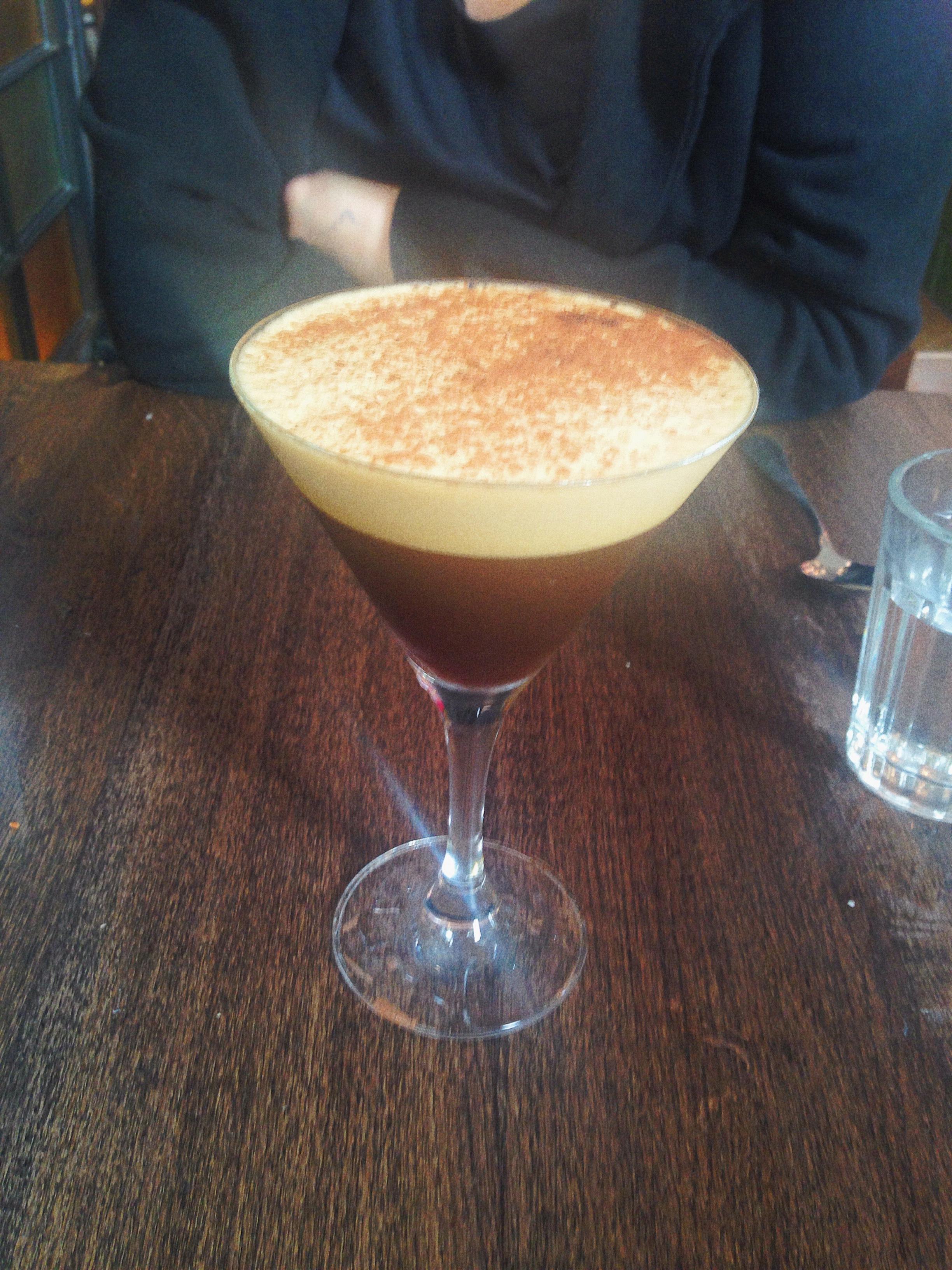 Holy Espresso: Tia Maria, hazelnut liqueur & amaretto with a double espresso shot, dusted with cocoa