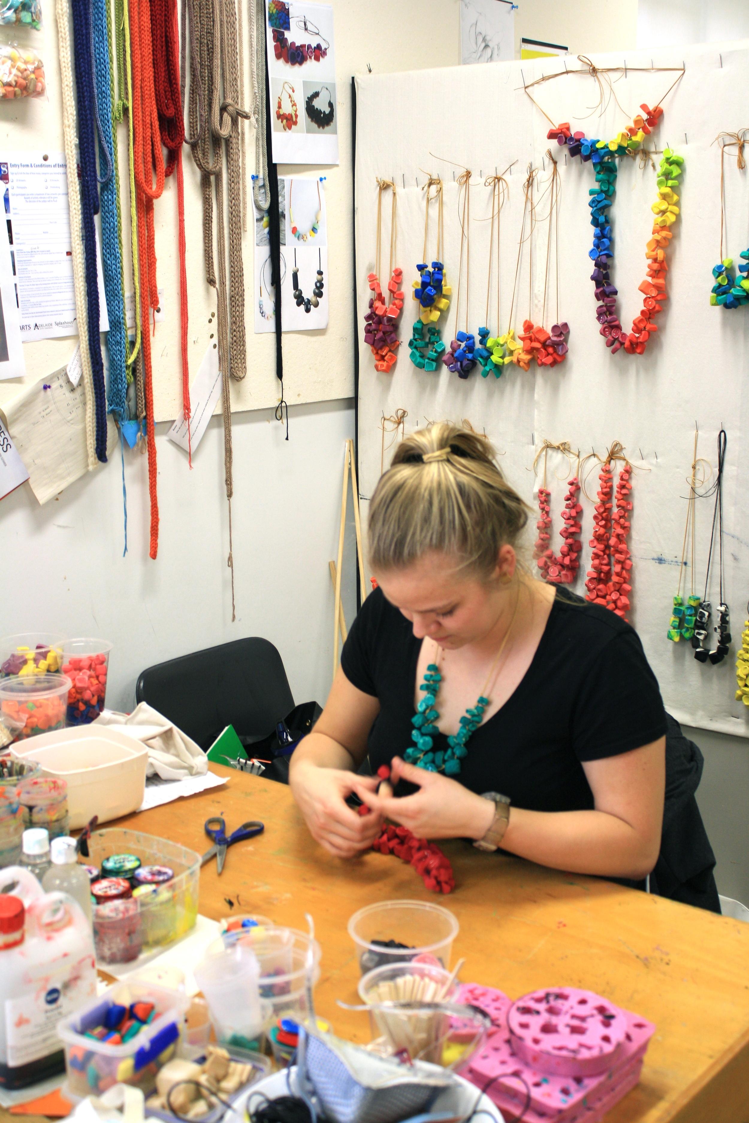 Erica working in her studio.