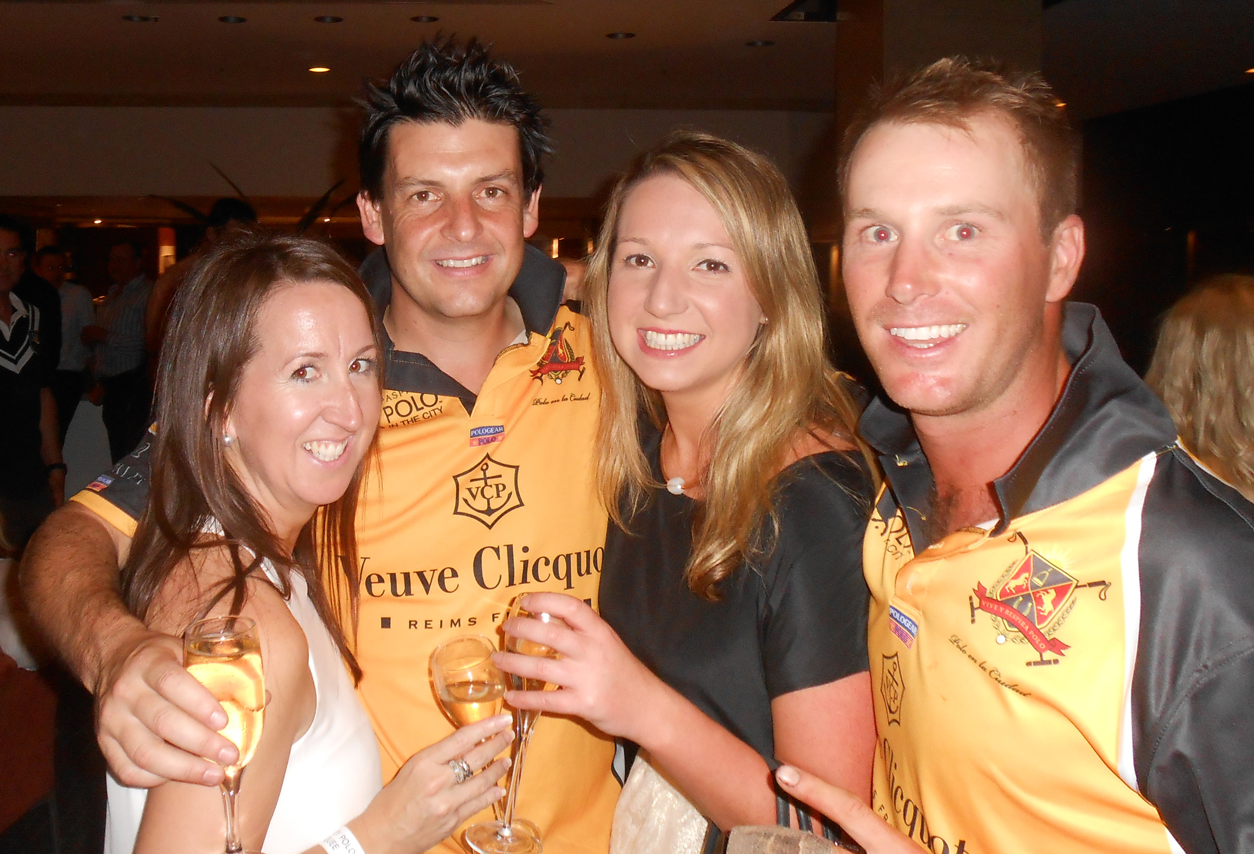 Polo players with Veuve Clicquot brand ambassadors at the after party