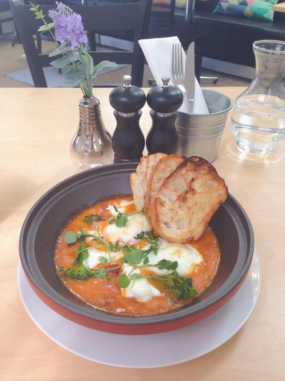 The Sugo Baked Eggs with  Chilli, Basil, Broccolini, Mozzarella and Chorizo