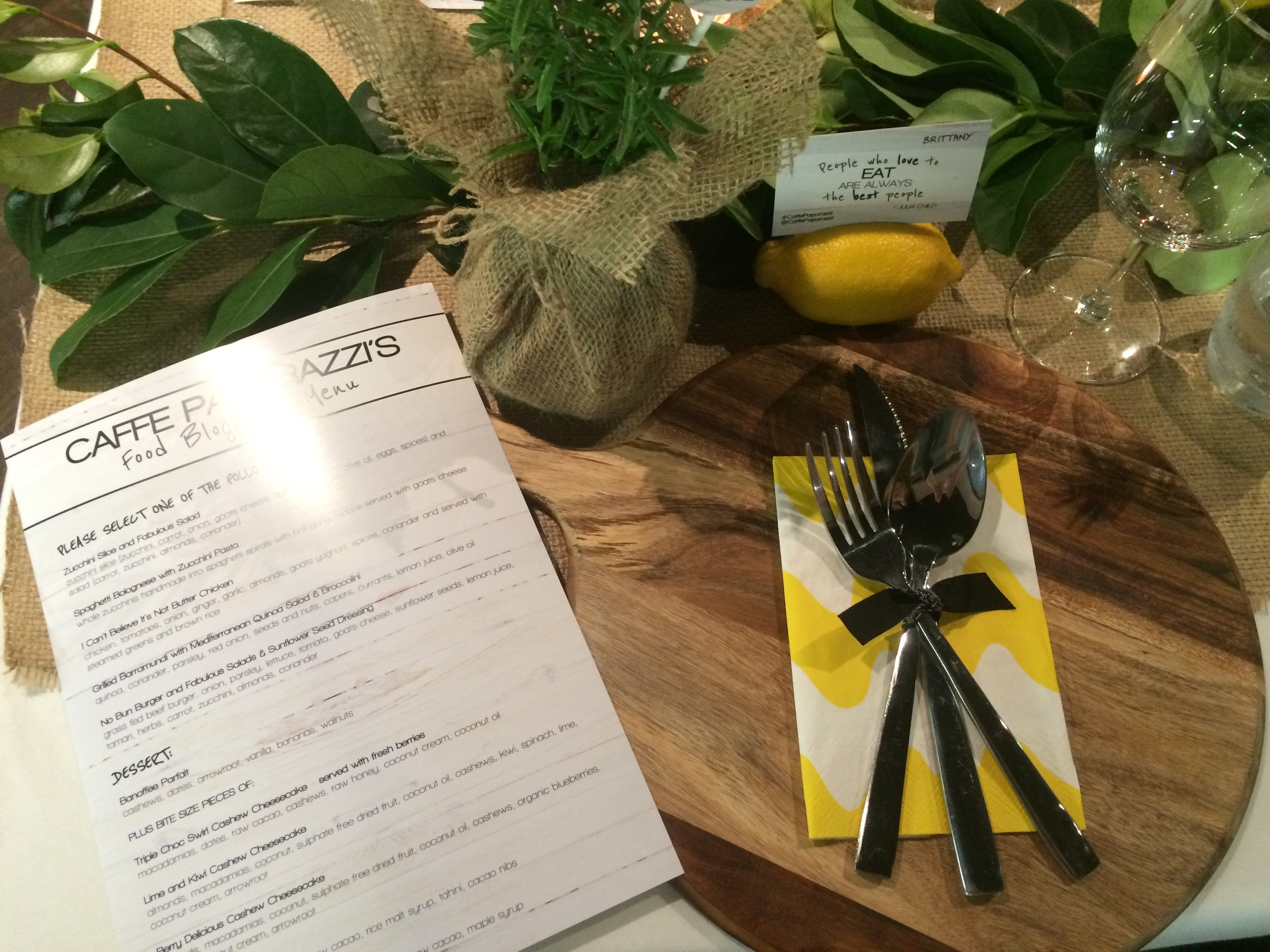 Foodie'sspecialised menu and table setting, lets eat!
