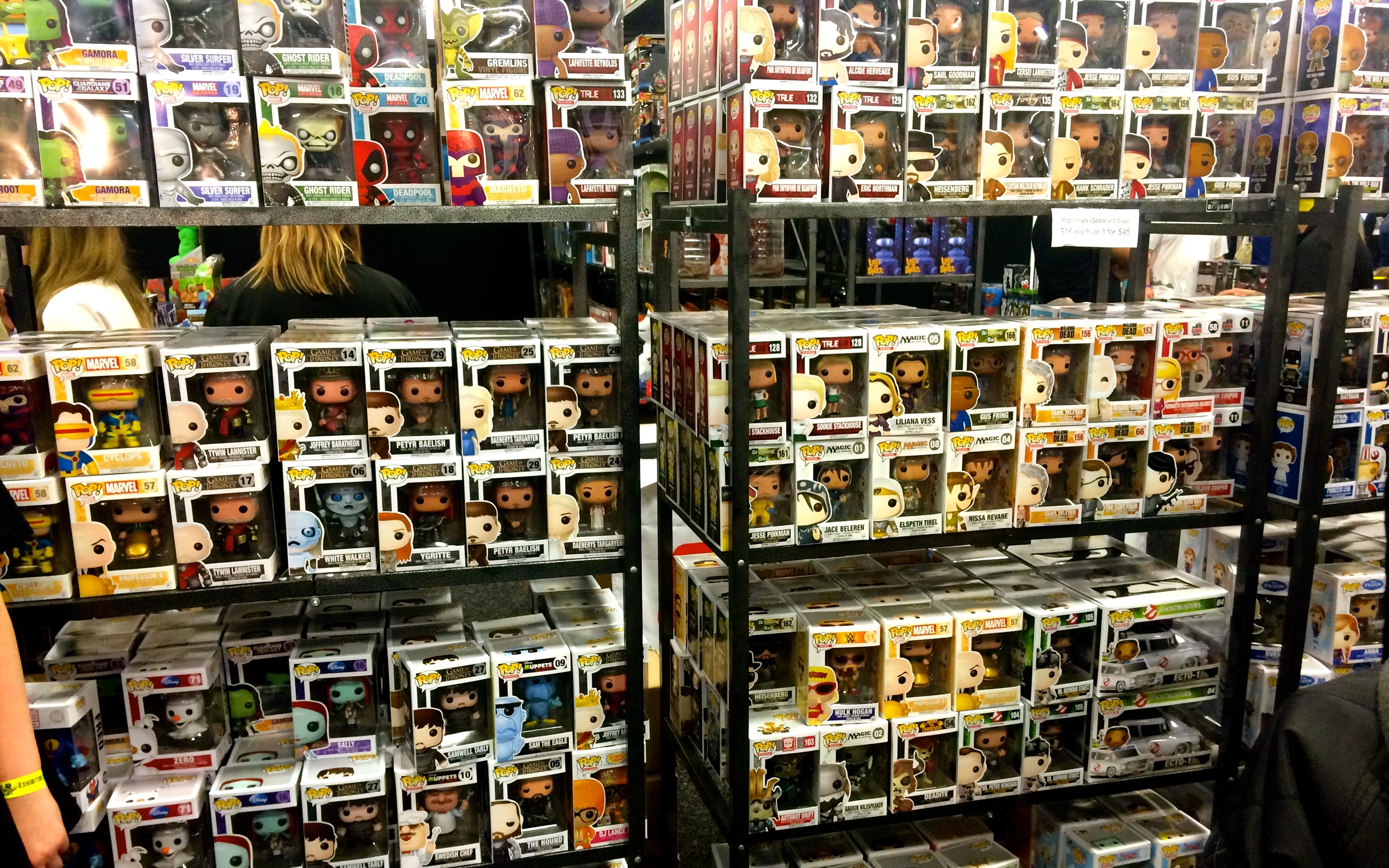 One of the many walls of Pop Vinyls at Oz Comic Con