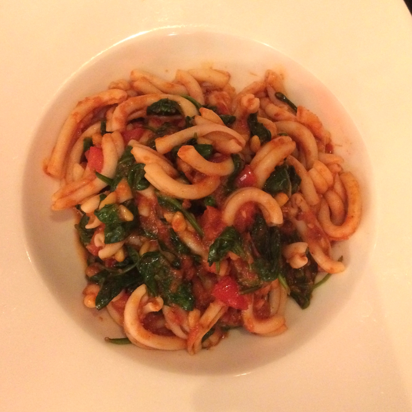 Fusilli with fresh Ricotta, Baby Spinach, Olives, Salsa Rossa and a hint of Chili.