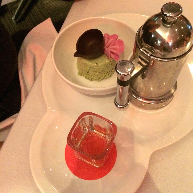 Frozen White Chocolate Cream served with Espresso and Amaretto & Peach Liqueur Sauce