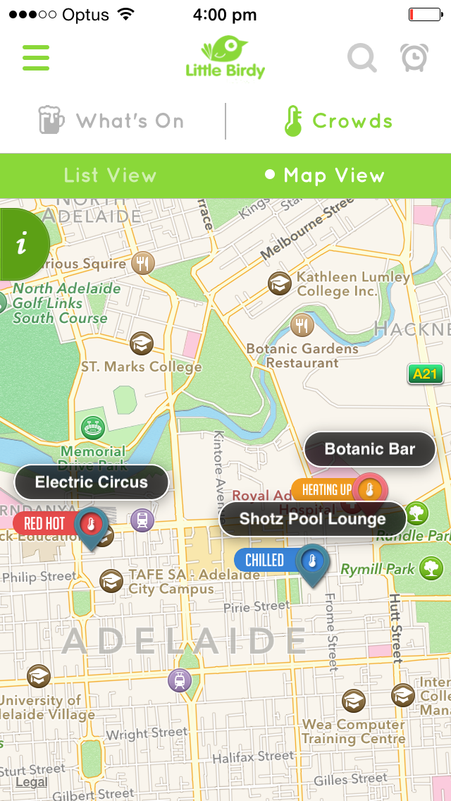 Map View feature of crowds in real time